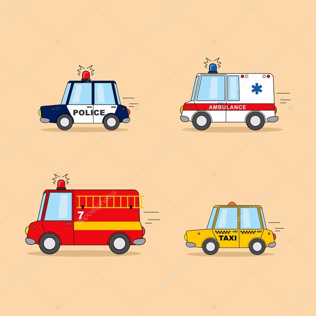Set Of Cartoon Cars Police Car Ambulance Firefighter Truck
