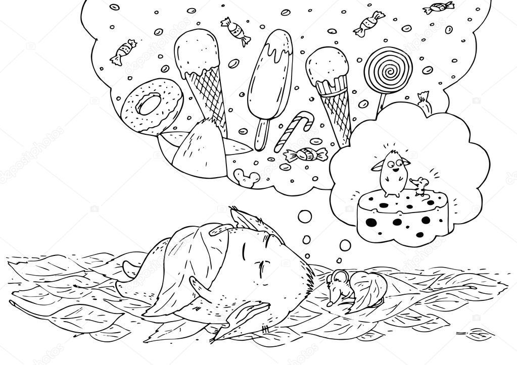 Página para colorear para niños. Pequeño monstruo y su ratón amigo ...