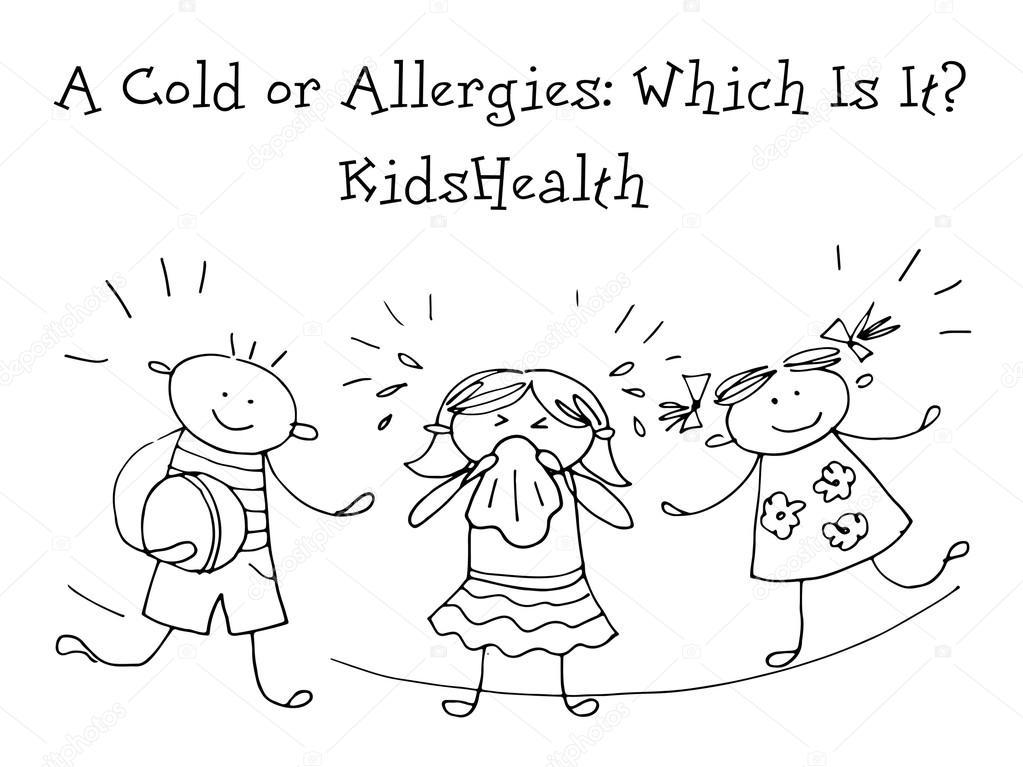 Un Resfriado O Alergias Salud De Los Niños Bosquejo