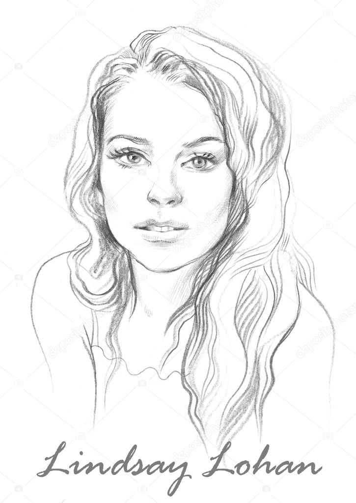 Portrait of Lindsay Lohan. Hand drawn graphic artwork.