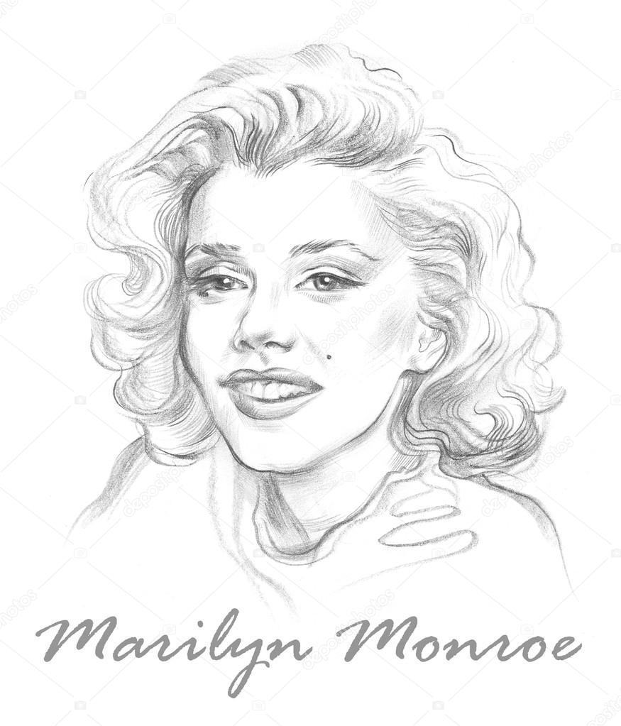 Portrait of Marilyn Monroe. Hand drawn graphic artwork.