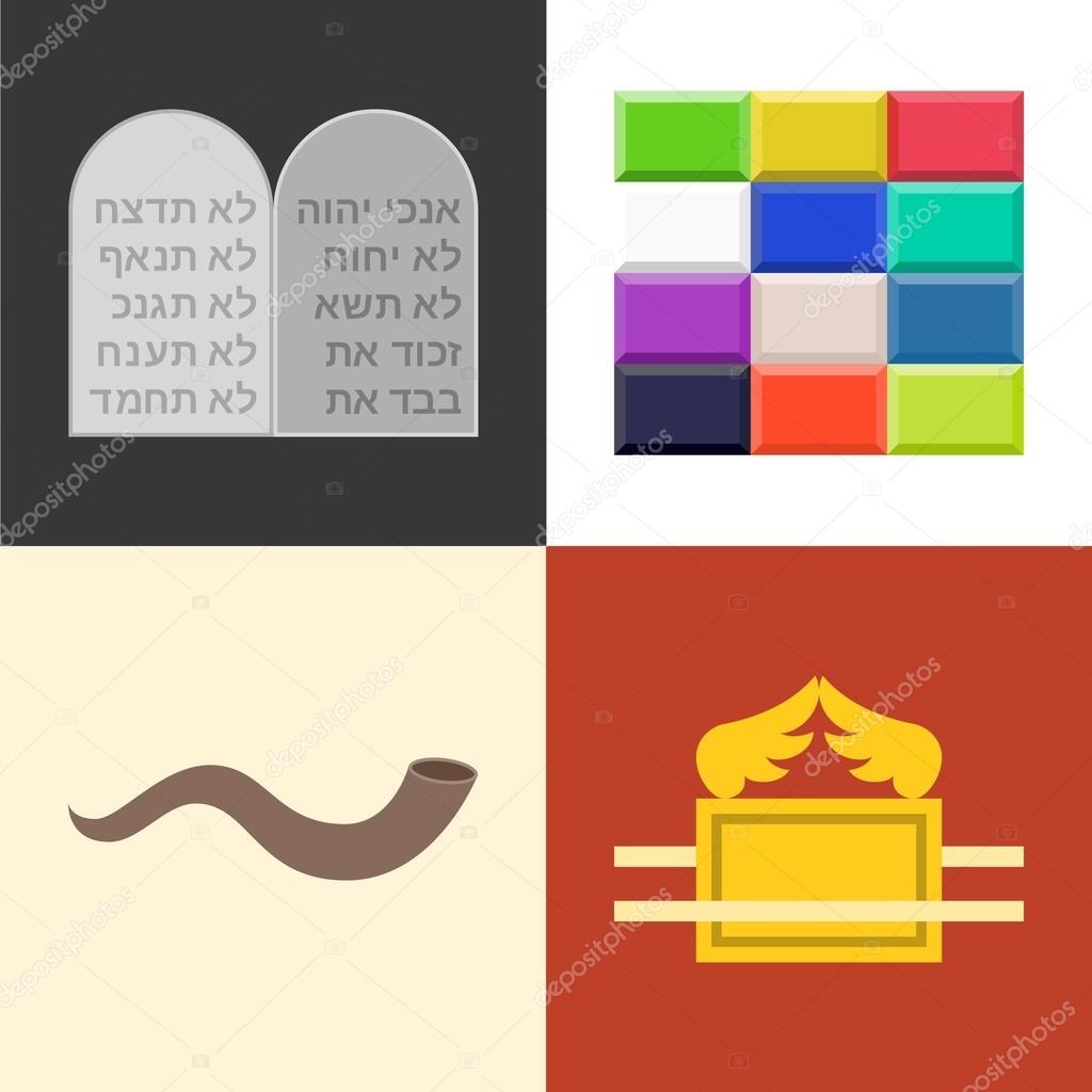 Conjunto de iconos de Antiguo Testamento — Vector de stock ...