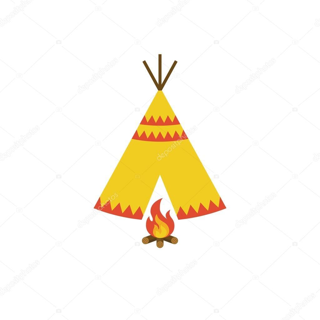 tipi zelt der indianer und lagerfeuer mit brennholz icon illustration vektor flaches design. Black Bedroom Furniture Sets. Home Design Ideas