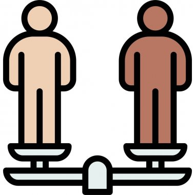 Balanced scale with two human icon, Protest related vector illustration icon