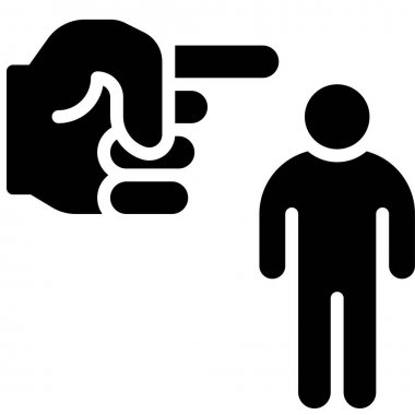 Hand pointing at human icon, Protest related vector illustration icon