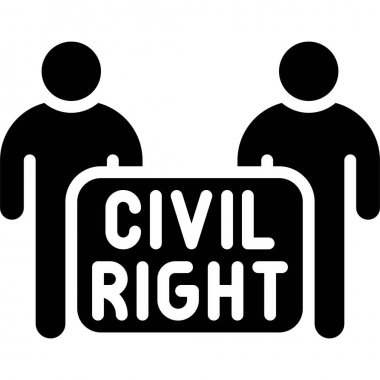 Protester with civil right sign icon, Protest related vector illustration icon