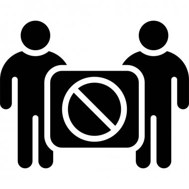 Protester with stop sign icon, Protest related vector illustration icon