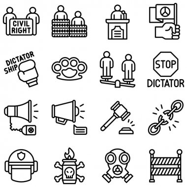 Protest related line icon set 2, vector illustration icon