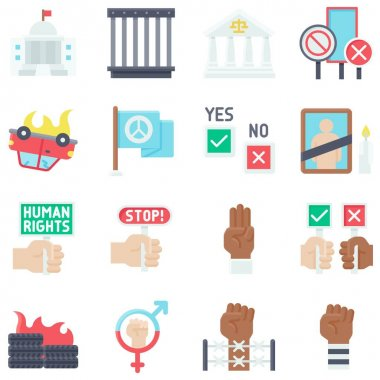 Protest related flat icon set 4, vector illustration icon