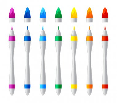 Set of colorful markers. Vector realistic highlighters, felt tip marker or pens collection for design in home, office and school projects, scrapbooks. Children and artist vivid painting tools. icon