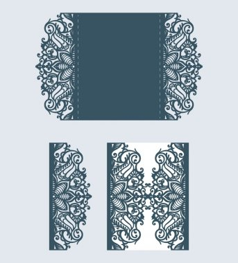 Beautiful laser cut invitation card with lace for wedding.