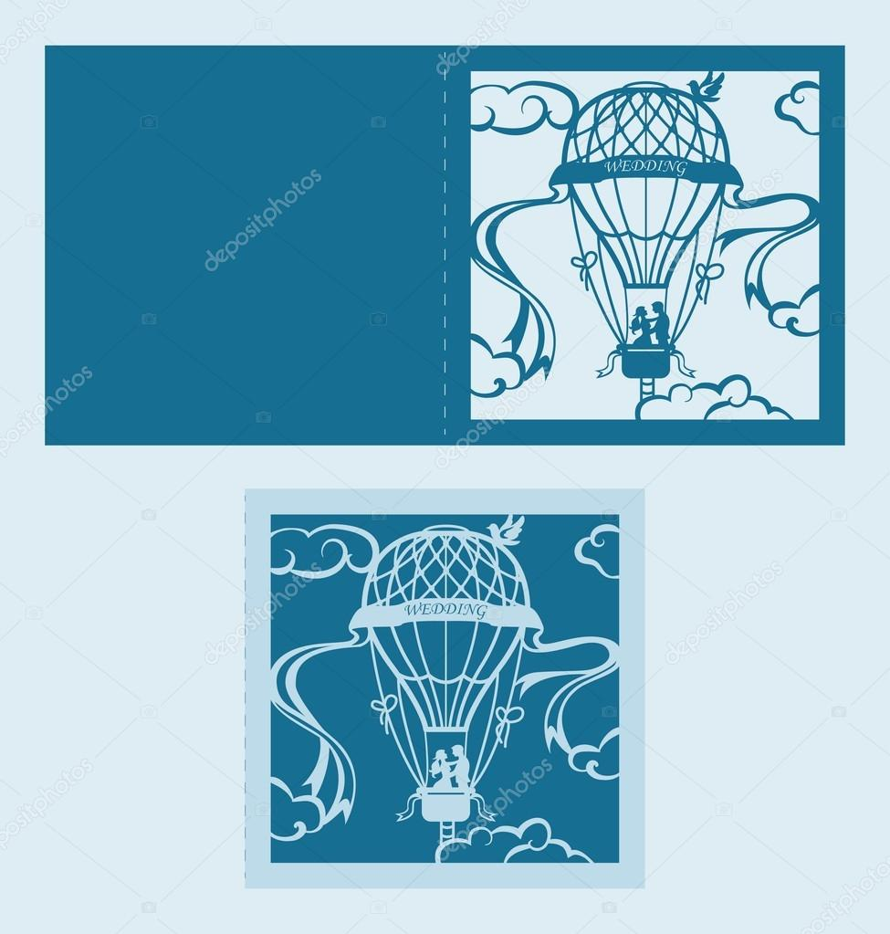 laser cut wedding invitation template with air balloon u2014 stock