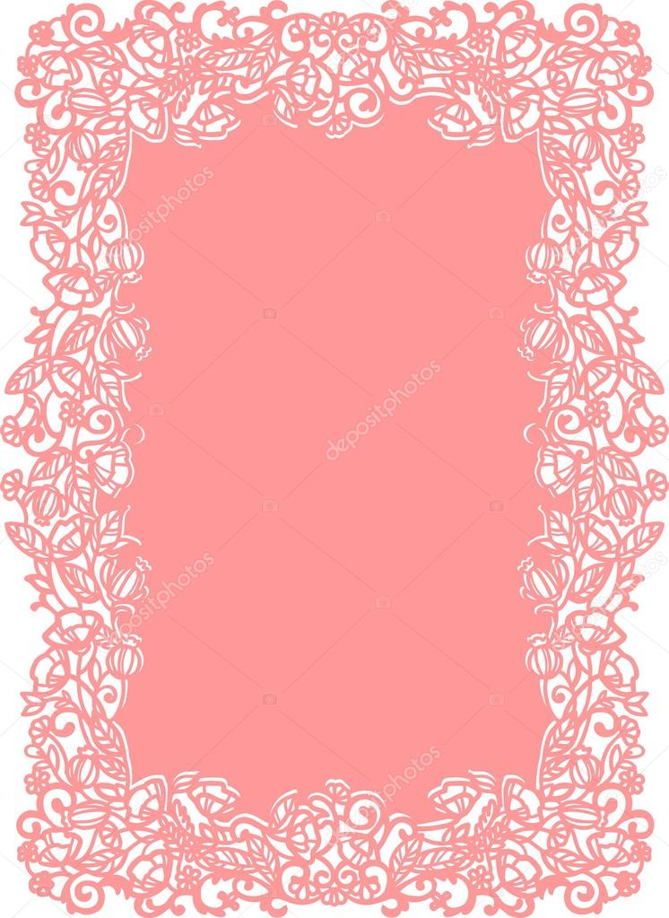 Laser Cut Wedding Invitation Template With Flowers Stock Vector - Laser cut wedding invitation templates