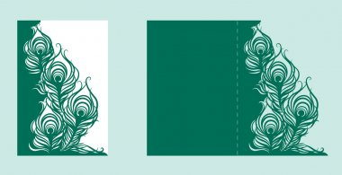 Wedding invitation or greeting card with peacock feather. Wedding invitation envelope mock up for laser cutting. stock vector