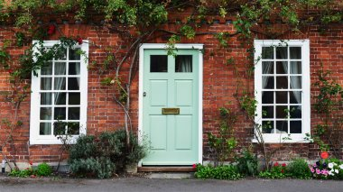 Front Door of an Attractive Old Red Brick London Town House