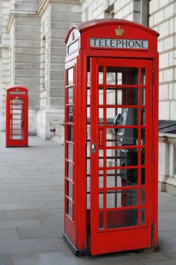 View of a Vintage Red British Phone Box