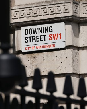Sign on Downing Street in the City of Westminster