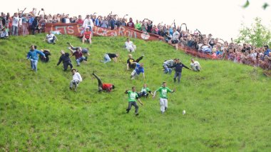 The traditional cheese rolling races in Brockworth, UK.