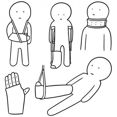 vector set of orthopedic cast