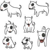 vektorové sada psa, bull terrier