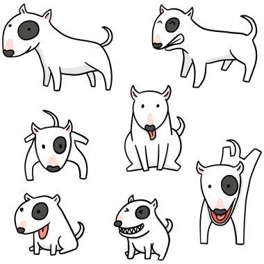 vector set of dog, bull terrier