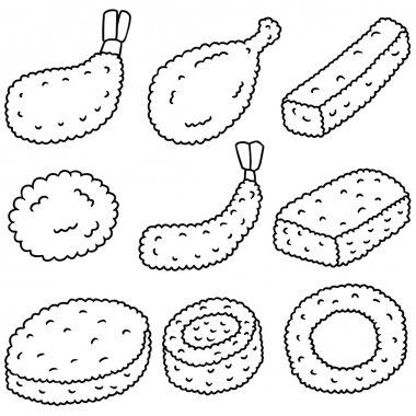 vector set of fried food