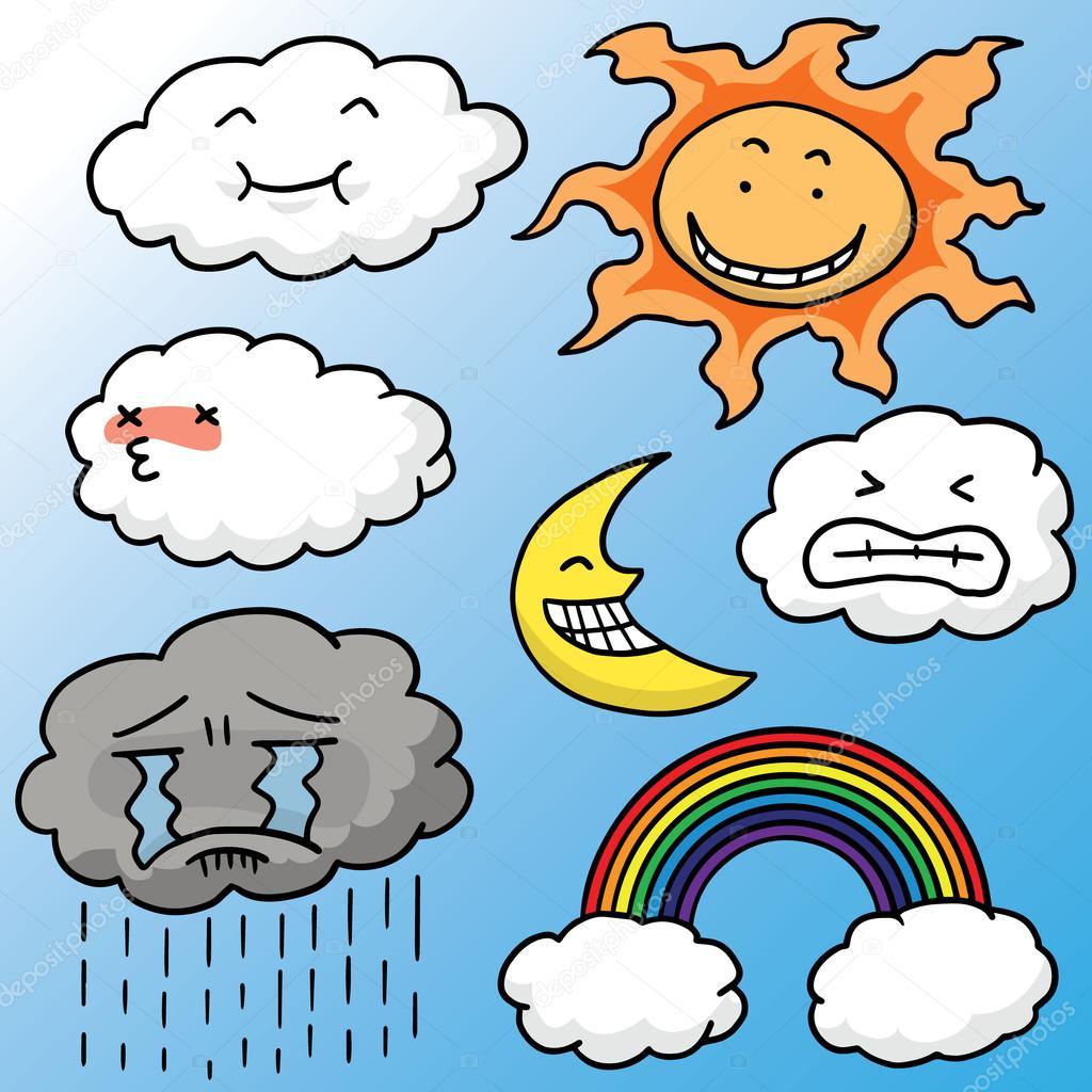 vector set of sun, moon, cloud and rainbow
