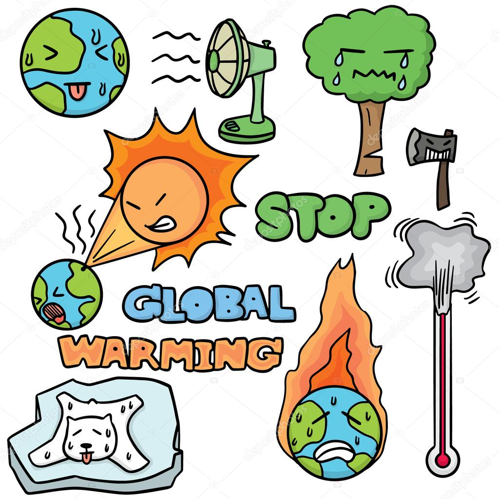 vector set of global warming