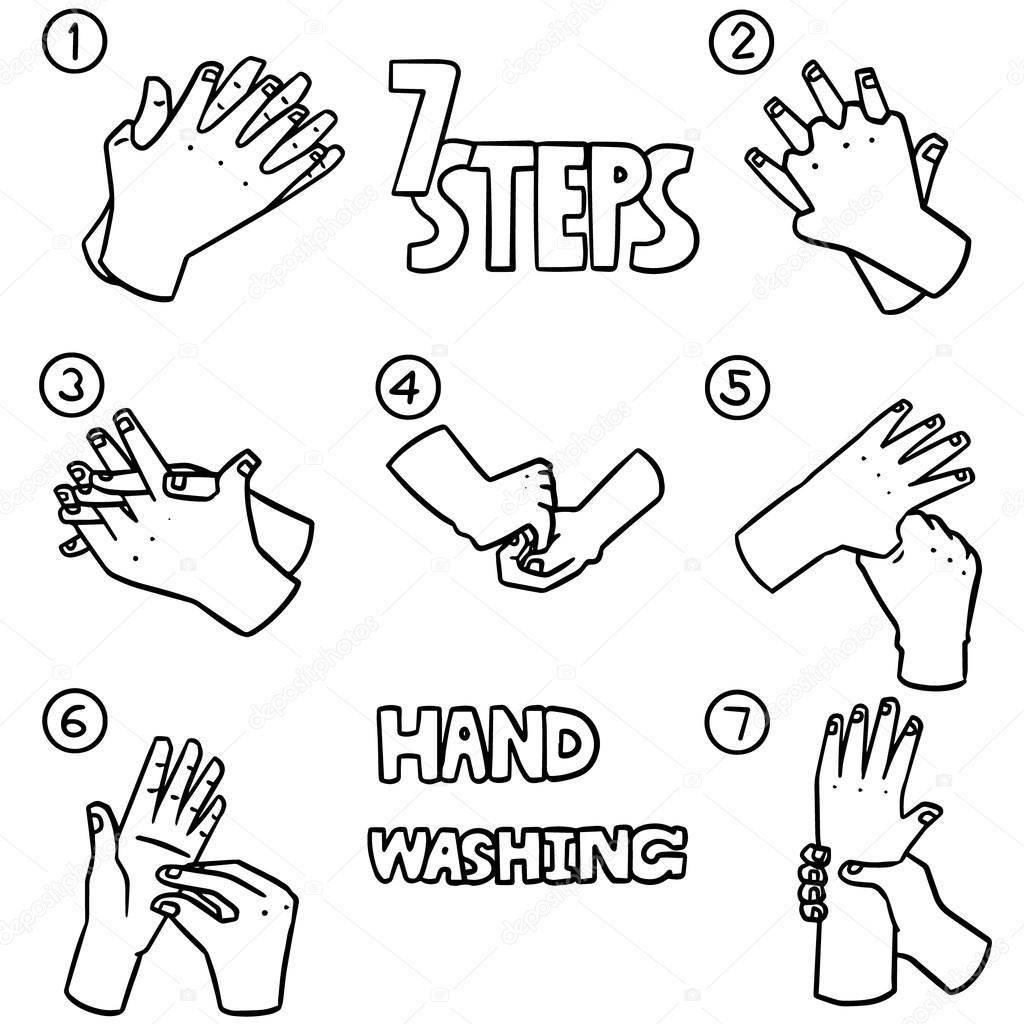 Vector conjunto de pasos para lavarse las manos — Archivo Imágenes ...