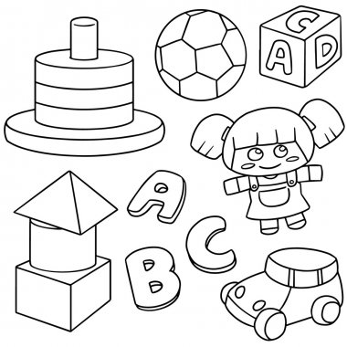 vector set of toys