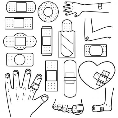 vector set of medical plaster