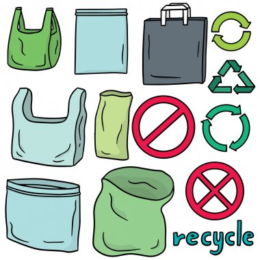 vector set of plastic bag and recycle icon
