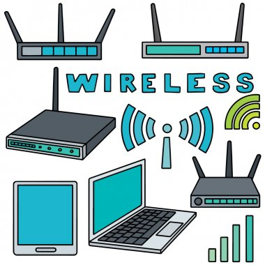 vector set of wifi router