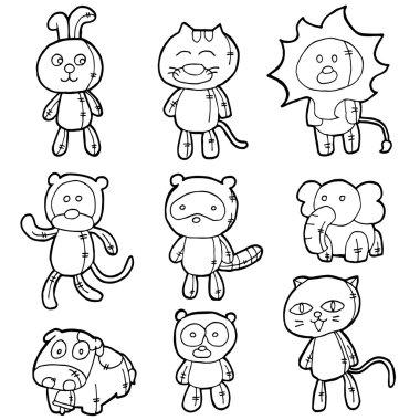 vector set of stuffed animals