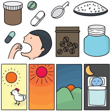 vector set of taking medicine instruction