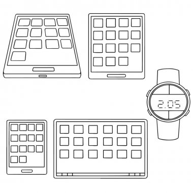 vector set of smartphone, tablet and smartwatch