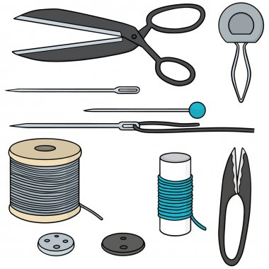 vector set of sewing accessories