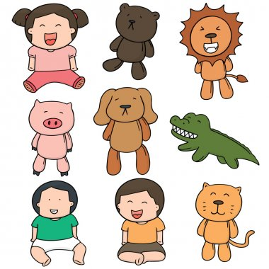 vector set of children and doll