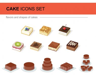 Set of icons to the types of cakes