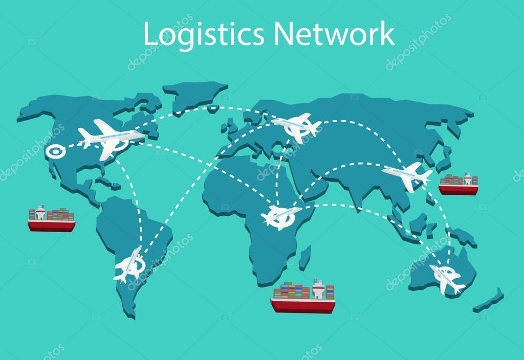Logistics network Flat 3d isometric vector illustration Set