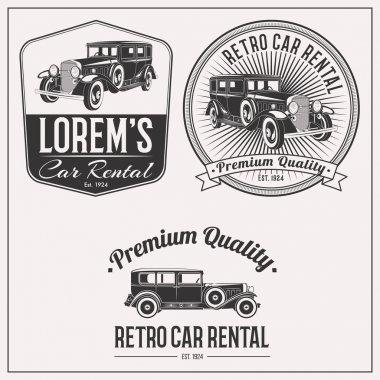 Retro car rental logo set