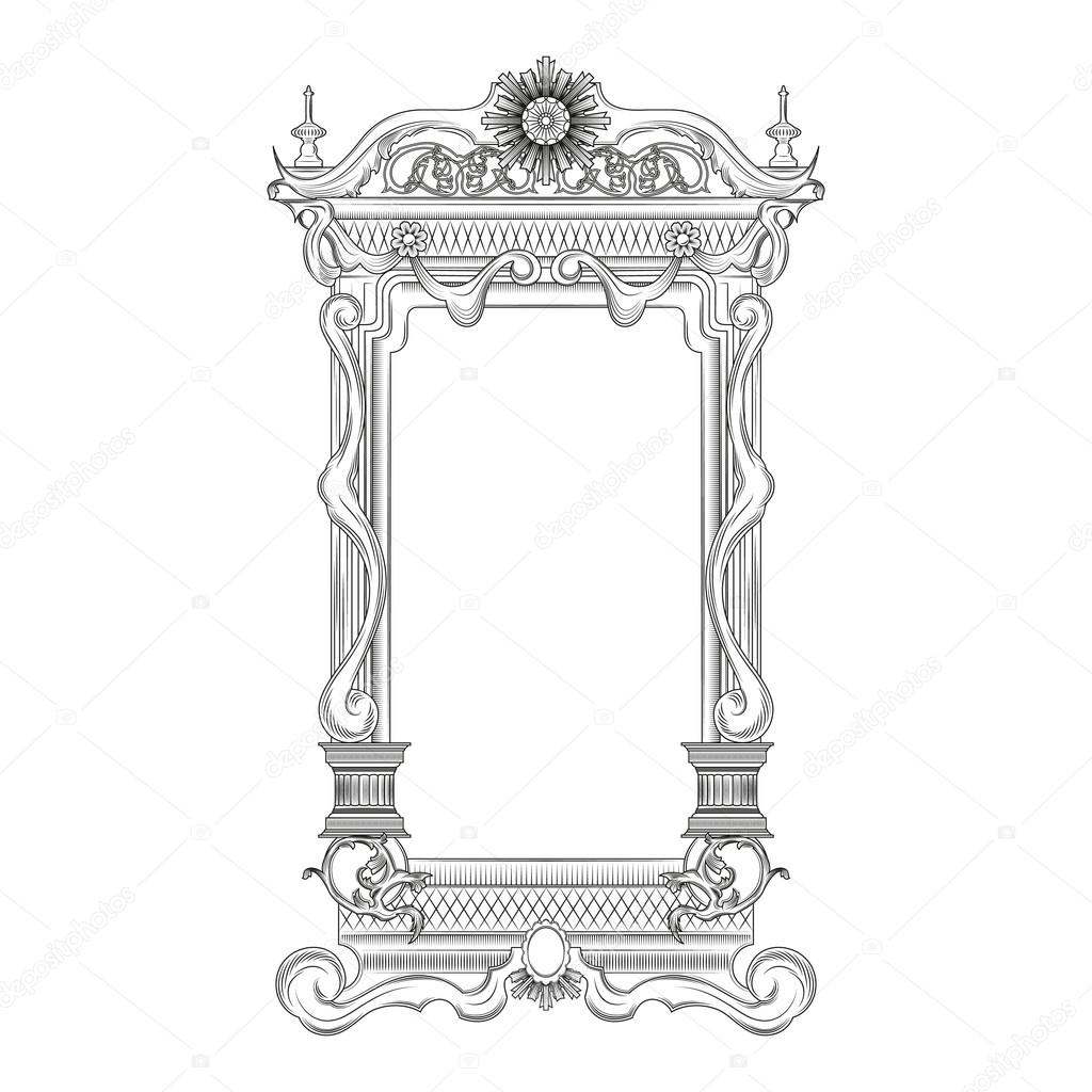 vintage mirror drawing. vintage mirror frame \u2014 stock vector #106488692 drawing h