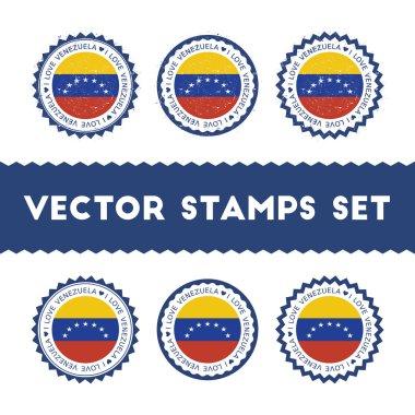 I Love Venezuela, Bolivarian Republic of vector stamps set.