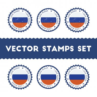 I Love Russian Federation vector stamps set.