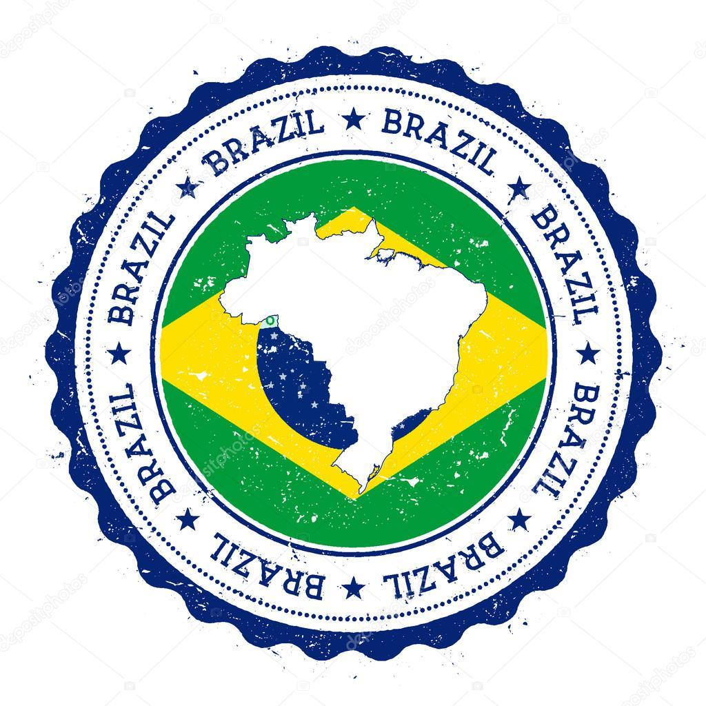 Badge Flag Of Federative Republic Of Brazil Stock Vector - Federative republic of brazil map