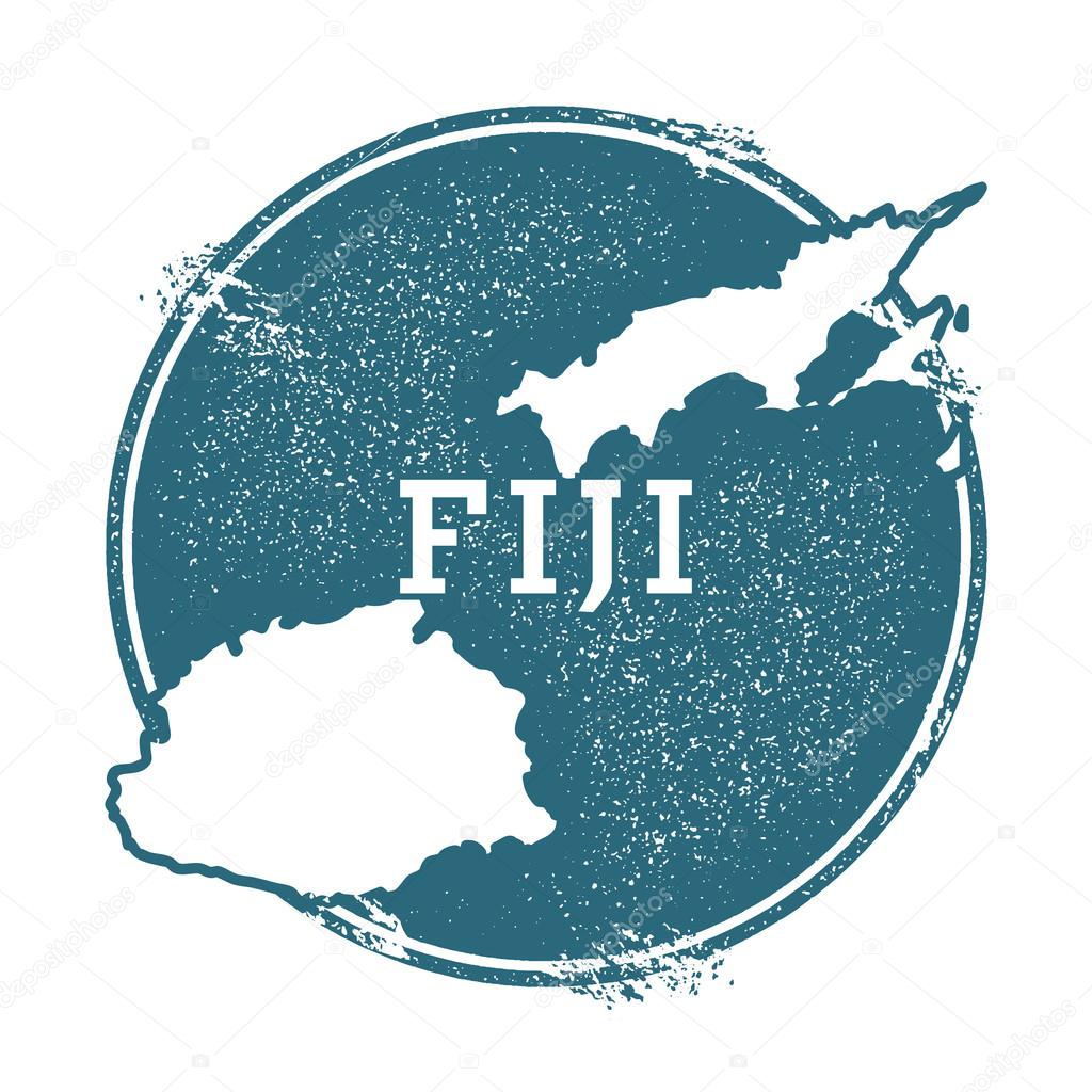 Grunge rubber stamp with name and map of Fiji, vector illustration ...