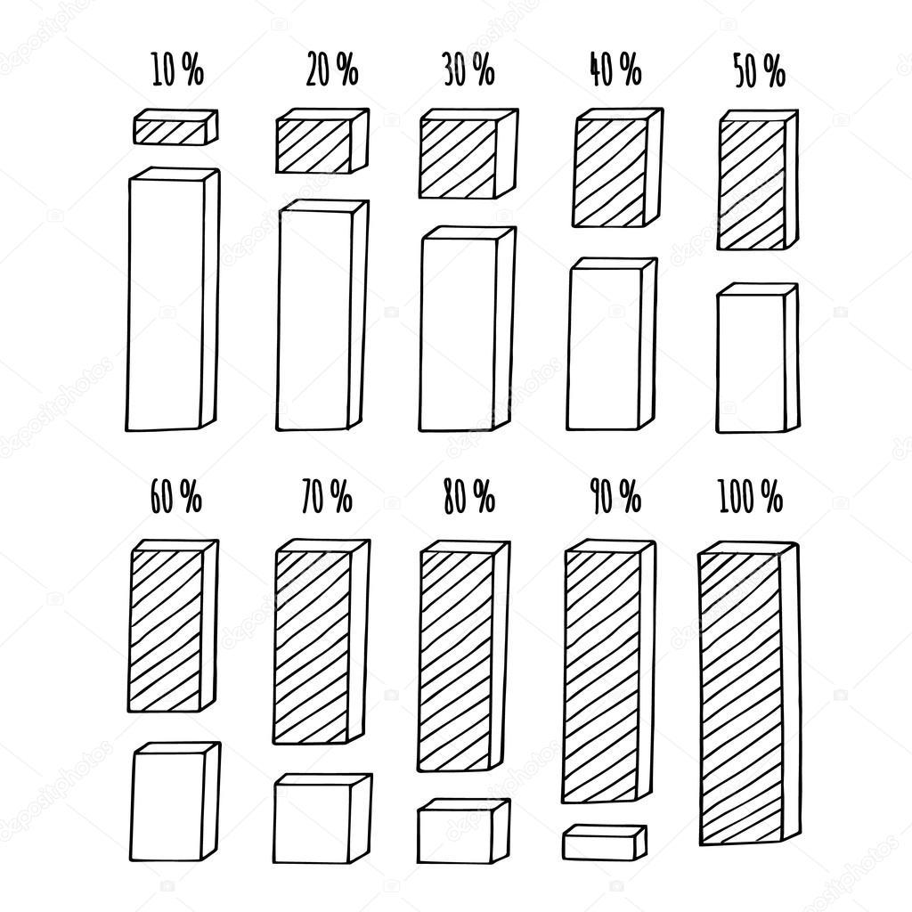 Prozent-Sequenz Spalte Diagramm Infografik. Hand gezeichnet Doodle ...