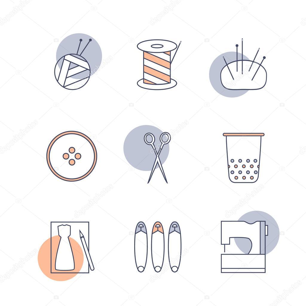 De coser y tejer herramientas. Madeja de hilo y tejer agujas ...