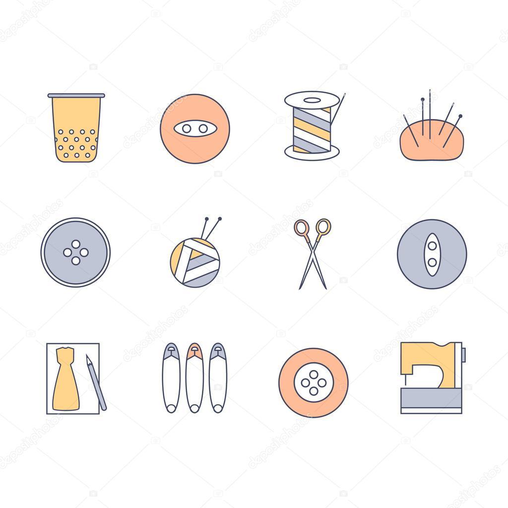 Vectorizado: ovillo de lana | De coser y tejer los iconos conjunto ...