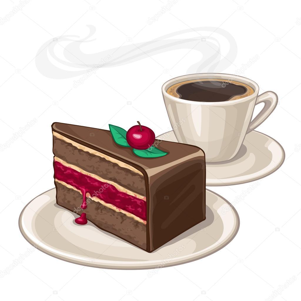 cake en kopje koffie — Stockvector © alhontess.gmail.com ...